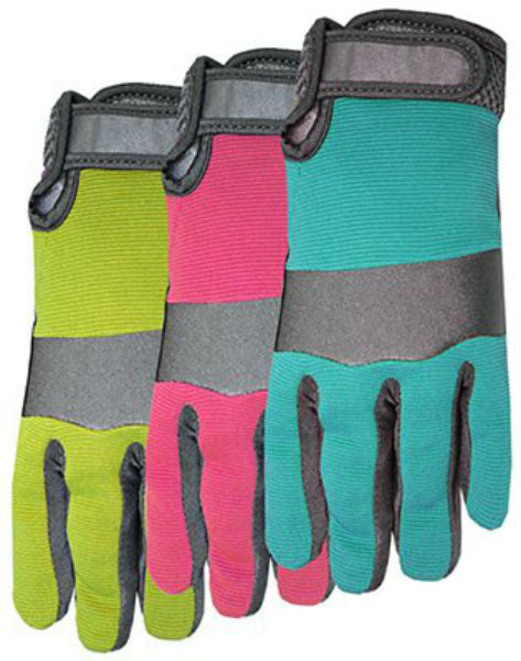 Midwest 149D4-L Ladies Synthetic Palm Glove with Assorted Spandex Back, Large