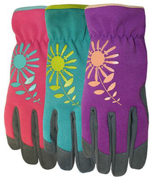 Midwest 161D4-S Ladies Synthetic Palm Glove with Assorted Spandex Back, Small