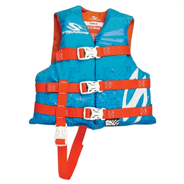 Stearns 3000002196 Child Classic Series 3-Buckle Open-Sided Vest, Blue/Orange