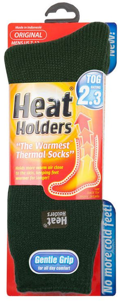 Heat Holders MHHORGFGR Men's Original Thermal Socks, Forest Green, Size 7-12