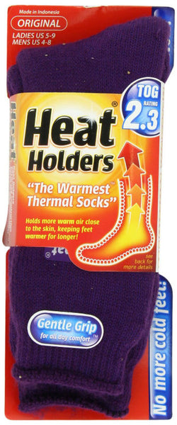 Heat Holders® LHHORGPUR Ladies Original Thermal Socks, Purple, Size 5-9