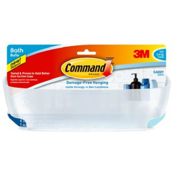 Command™ BATH11-ES Shower Caddy with Water-Resistant Strips, Large, Frosted