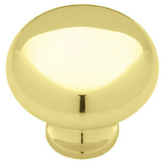 "Brainerd® P50150H-PB-C5 Round Cabinet Knob, 1-1/4"", Brass Plated Finish"