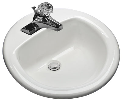 "Mansfield 239-4 Round Self Rimming Lavatory, 19"", White"