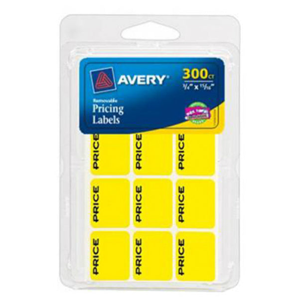 "Avery® 06752 Removable Pricing Labels, 3/4"" x 15/16"", Neon Yellow, 300-Pack"