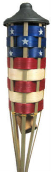 Tiki® 1113046 Americana FlameKeeper™ Torch, Bamboo, Red/White/Blue