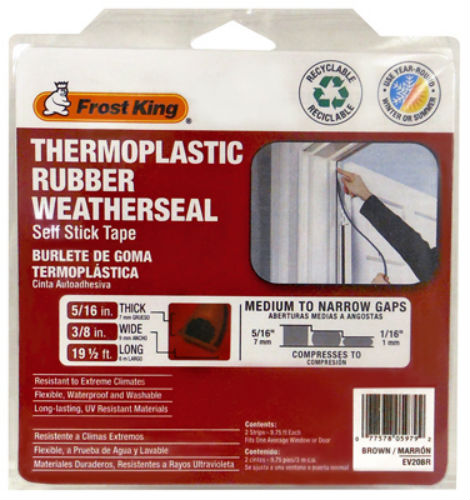 "Frost King EV20BR Thermoplastic Rubber Weather Seal, 5/16"" x 3/8"" x 20', Brown"