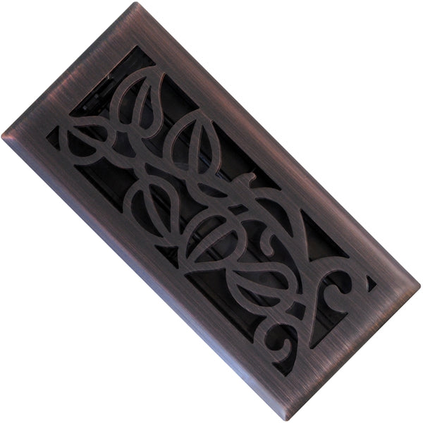 "Imperial RG3279 Vine Design Steel Floor Register, Oil Rubbed Bronze, 4"" x 10"""