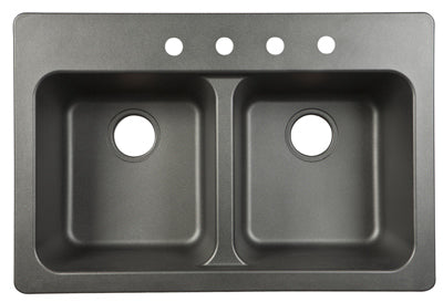 "Franke FTB904BX Double Bowl Sink Tectonite 33"" x 22"" x 9"", Black"