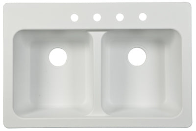 "Franke FTW904BX Double Bowl Sink Tectonite 33"" x 22"" x 9"", White"
