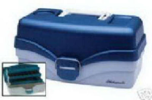 Plano® 620206 Two Tray Tackle Box, Blue Metalllic/Off White