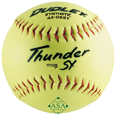 "Dudley® 4A-069YP Hycon Thunder SY Slow Pitch Softball, 12"", ASA Yellow"