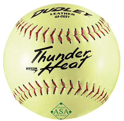 "Dudley® 4A-065YP ASA Hycon Thunder Heat Slow Pitch Softball, 12"", Yellow"