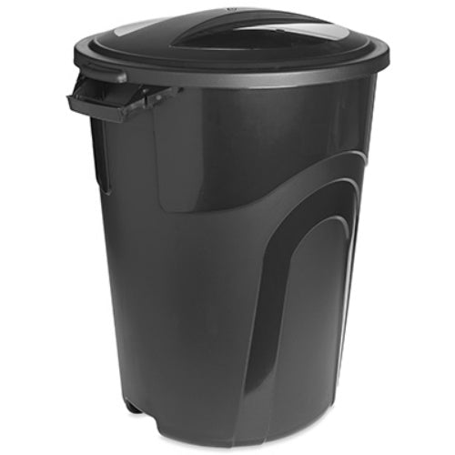 Rough & Rugged® TI0019 Trash Can with Lid, 32 Gallon, Black