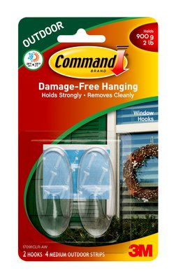 Command 17091CLR-AW Outdoor Window Hooks, Medium, Clear, 2 Hooks & 4 Strips