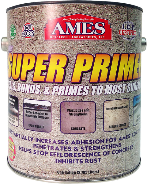 Ames® SP1 Super Primer Unique Pure Acrylic Elastomeric Plastic Sealant, 1 Gallon