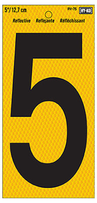 Hy-Ko RV-75/5 Number 5 Sign, Black on Yellow Reflective Background, 5""