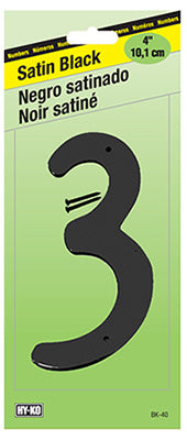 "Hy-Ko BK-40/3 Zinc House Number 3 Sign, 4"", Satin Black Finish"