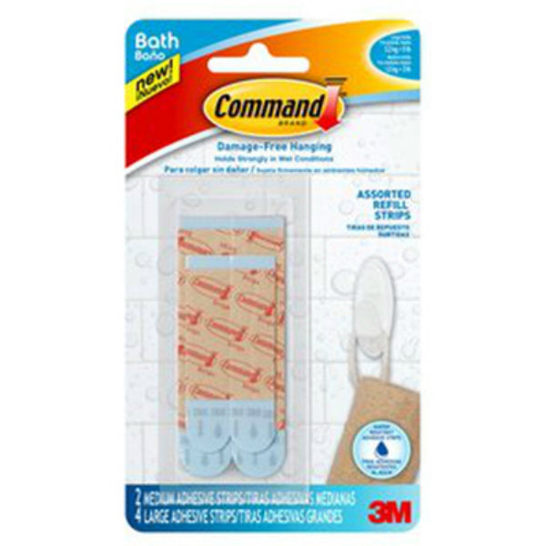 Command™ BATH22-ES Water-Resistant Refill Strips, Blue, Assorted