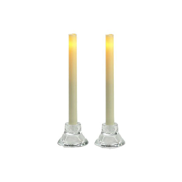 "Inglow CGT13109CR2 Wax Flameless Taper Candle, 9"", Cream"