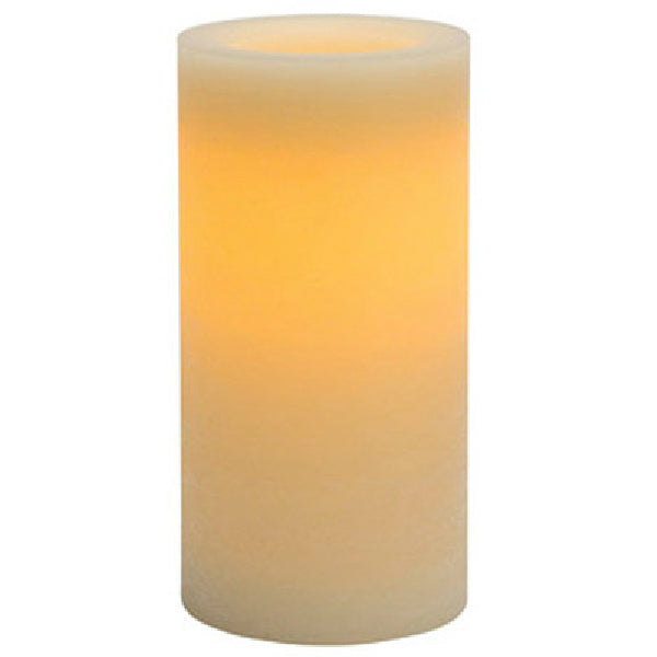 "Inglow CGT42168CR01 Vanilla Scented Rustic Flameless Pillar Candle, 4"" x 8"""