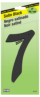 "Hy-Ko BK-40/7 Zinc House Number 7 Sign, 4"", Satin Black Finish"