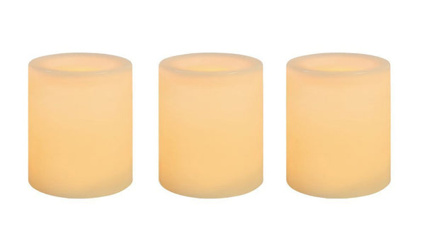 "Inglow CG10286CR3 Wax Covered Flameless LED Votive Candle, Cream, 1.75"", 3-PK"