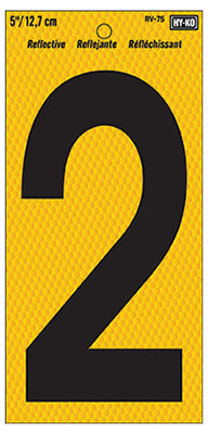 Hy-Ko RV-75/2 Number 2 Sign, Black on Yellow Reflective Background, 5""