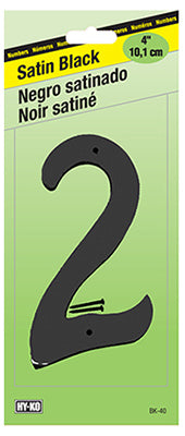 "Hy-Ko BK-40/2 Zinc House Number 2 Sign, 4"", Satin Black Finish"