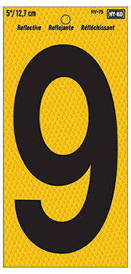 Hy-Ko RV-75/9  Number 9 Sign, Black on Yellow Reflective Background, 5""