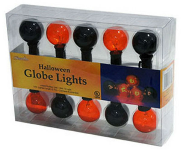 Sienna 126G6H12 Halloween G40 Globe 10-Light Set, Transparent Black/Orange, 10'