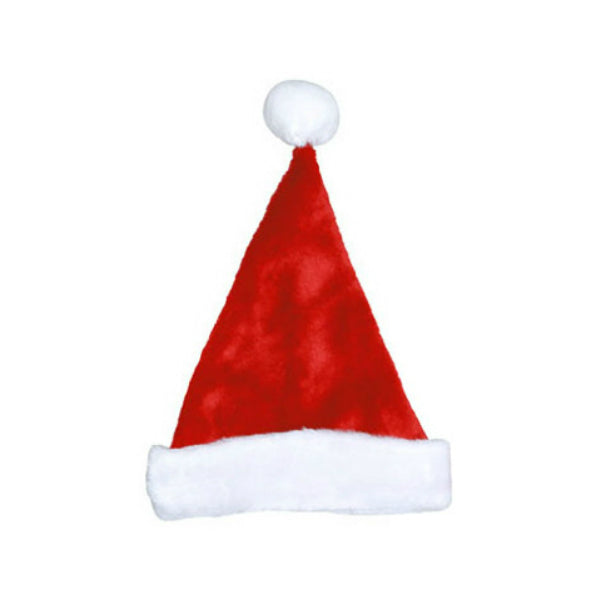 Dyno 0402009AZSACC Red Plush Christmas Santa Hat w/White Plush Cuff & Pom, 17""
