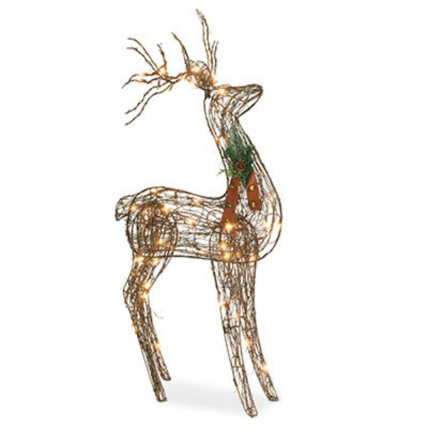 "Sylvania V53135-88 Christmas Frosted Grapevine Standing Deer, 48"", 70 Clear Light"