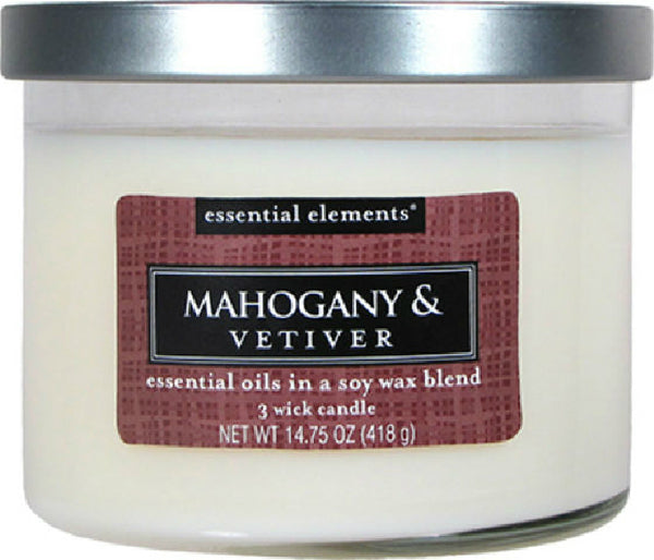 Candle Lite® 1542293 Essential Elements™ Wax Candle, 14.75 Oz, Mahogany & Vetiver