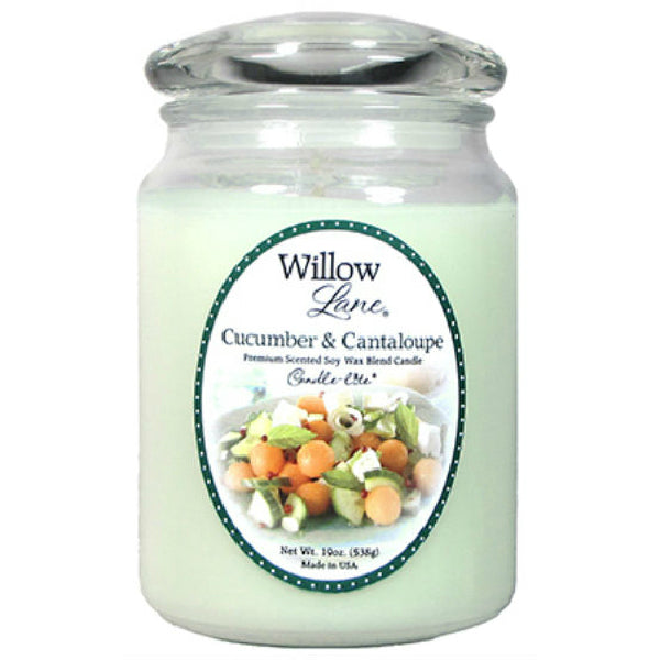 Candle Lite® 1646038 Willow Lane™ Wax Jar Candle, Cucumber & Cantaloupe, 19 Oz