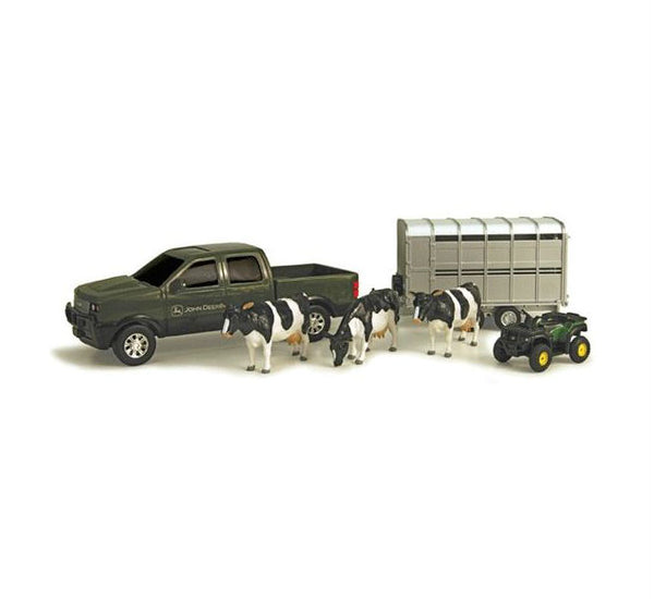 John Deere 37656A Pickup Hauling Set with Trailer & Animals, Assorted Style