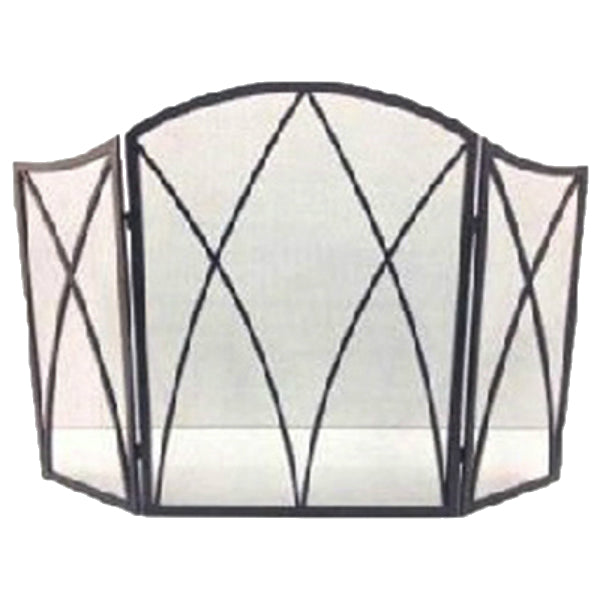 "Panacea™ 15193 Gothic Style 3-Panel Fireplace Screen, 32"" x 48"", Eggshell Black"
