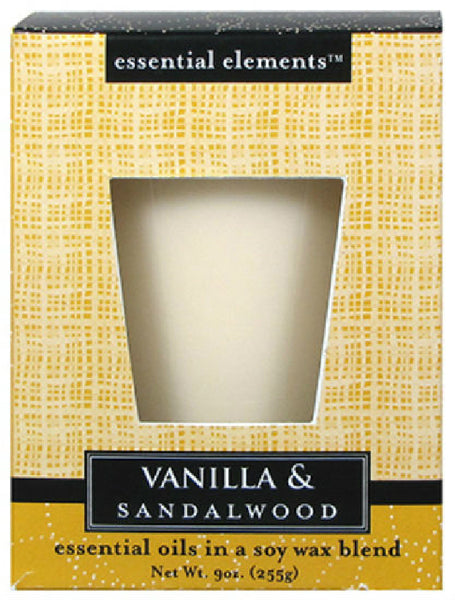 Candle Lite® 1540344 Essential Elements™ Vanilla & Sandalwood Jar Candle, 9 Oz