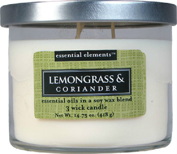 Candle Lite® 1542350 Essential Elements™ Lemongrass & Coriander Candle, 14.75 Oz
