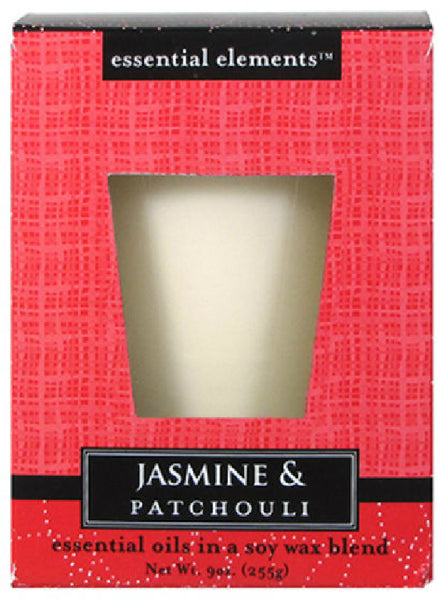 Candle Lite® 1540020 Essential Elements™.Wax Candle, 9 Oz, Jasmine & Patchouli