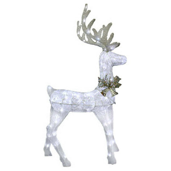 "Sylvania V53059-88 Christmas Silver Glitter Mesh Standing Deer 48"", 90 LED Light"