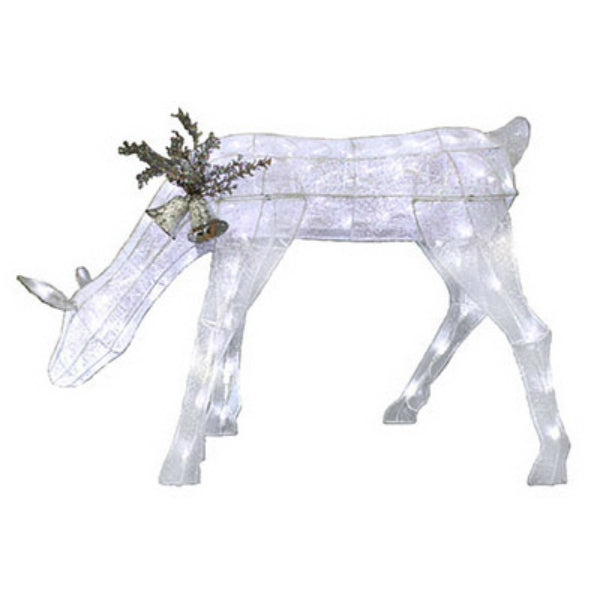 "Sylvania V53060-88 Christmas Silver Glitter Mesh Feeding Deer 36"", 90 LED Light"