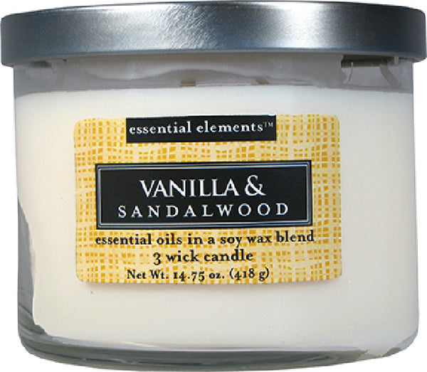 Candle Lite® 1542344 Essential Elements™ Vanilla & Sandalwood Wax Candle, 14.75 Oz