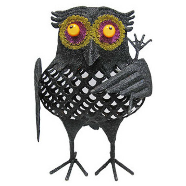 Sylvania V34253-88 Halloween Battery-Operated Glittered LED Owl with Rake, Black