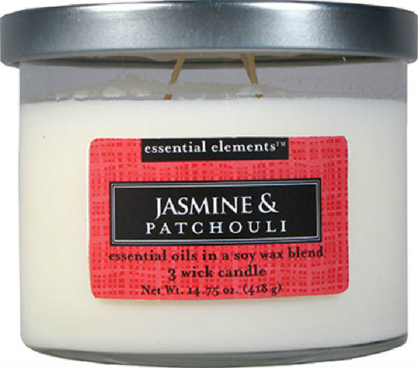 Candle Lite® 1542020 Essential Elements™ Wax Candle, 14.75 Oz, Jasmine & Patchouli