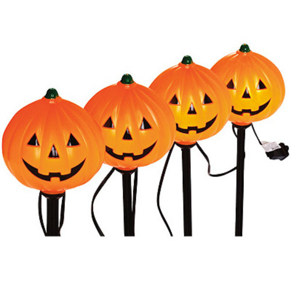 Sylvania V37131-88 Halloween Lighted Pumpkin Pathway Markers, 4-Piece
