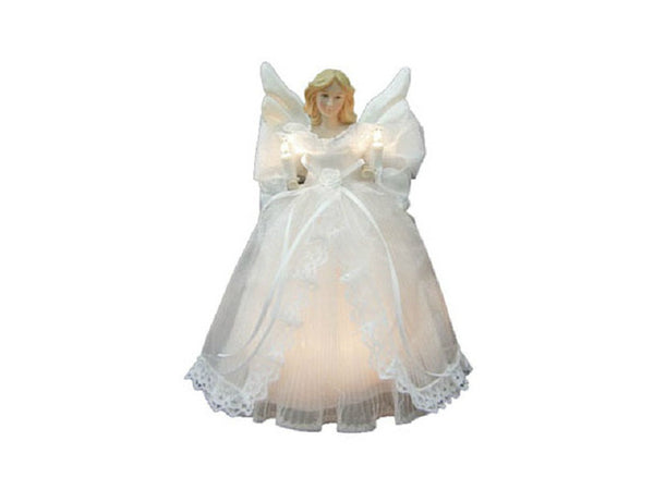 "Sylvania V4981-88 Angel w/ White Dress & Wings Christmas Tree Top 10"", 10-Lights"