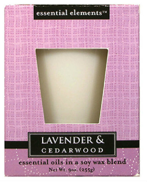 Candle Lite® 1540353 Essential Elements™ Lavender & Cedar Wood Candle, 9 Oz