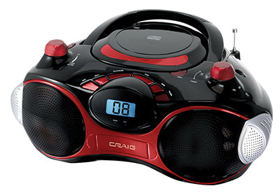 Craig CD6948N Stereo CD Boombox with AM/FM Radio, Red & Black