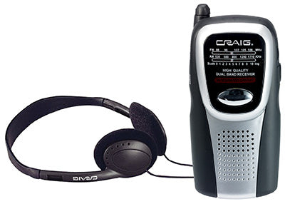 Craig CS2500 Portable AM/FM Pocket Radio with Speaker & Stereo Headphones